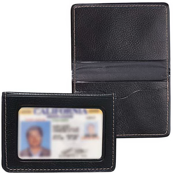 Classic Leatherette Travel Size Bi-fold Card Holder With Clear Id Holder Photo