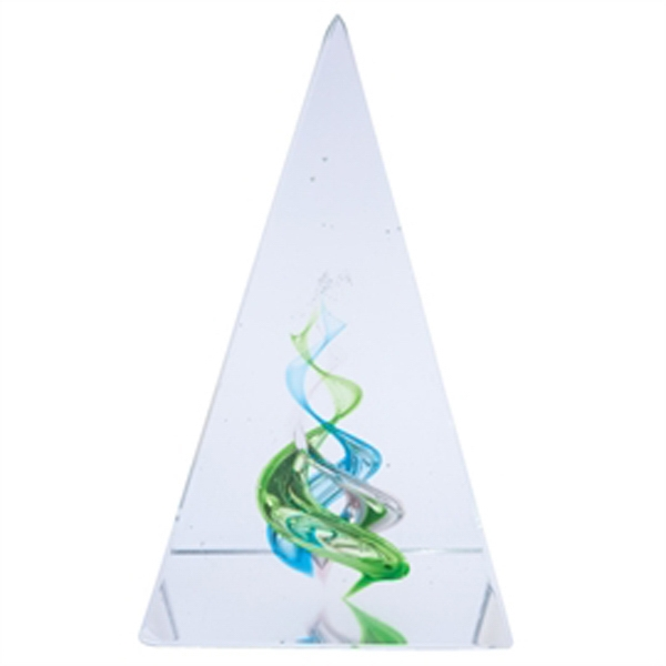 "Green And Blue Crystal Pyramid Paperweight; 2 5/8"" W X 4 1/4"" H X 2 5/8"" D Photo"