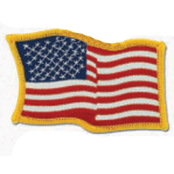 "Stock American Waving Flag Embroidered Patch, 3 1/2"" X 2 1/2"" Photo"