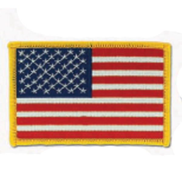 "Stock American Flag Embroidered Patch, 3 1/2"" X 2 1/2"" Photo"