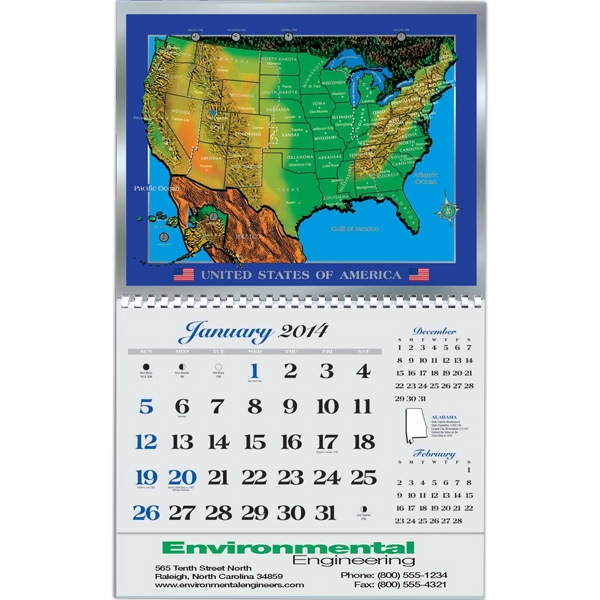 Foil Etch (tm) - Executive Gift U.s. Map Calendar Photo