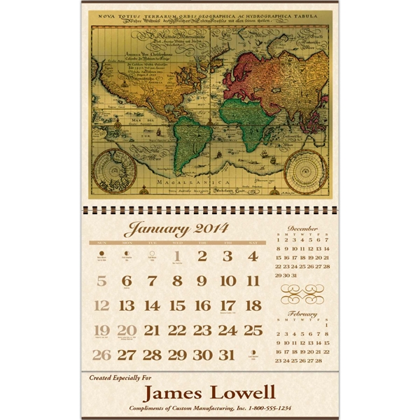 Foil Etch (tm) - Executive Gift Antique Map Calendar Photo