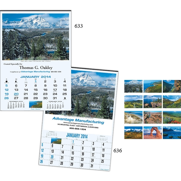 "Scenic America (r) - Twelve-sheet Executive 17"" X 23 3/4"" Calendar With White Ad Space Photo"