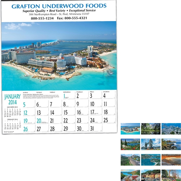 "World Panorama (tm) - Twelve-sheet Executive 18"" X 21"" Calendar With Black Ad Photo"