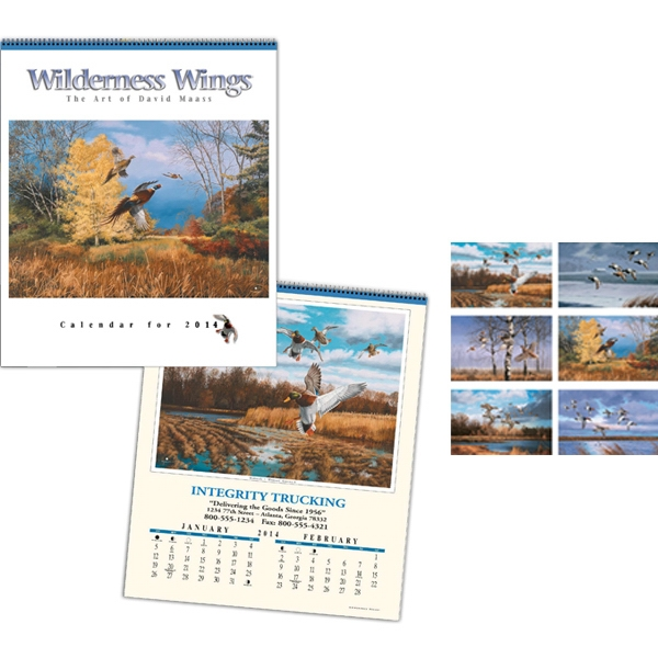 "Wilderness Wings (r) - Six-sheet Executive 17"" X 20"" Calendar With Plastic Coated Wire Binding Photo"