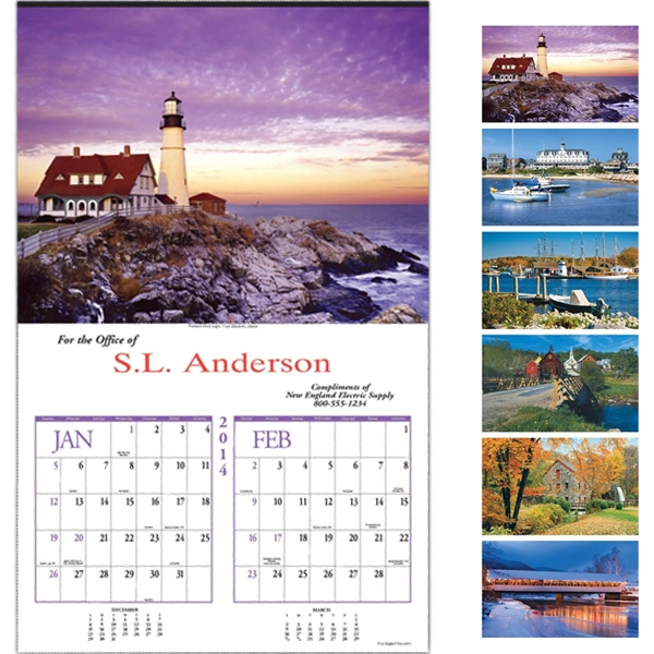 "New England - Executive Six-sheet Calendar, 14"" X 22"" Photo"