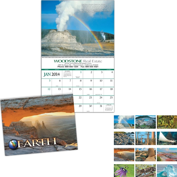 Earth - Twelve-imprint Executive Appointment Calendar With Black Ad Photo