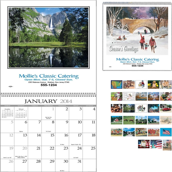 Spiral Bound Standard Appointment Scenic Calendar With Black Ad Photo