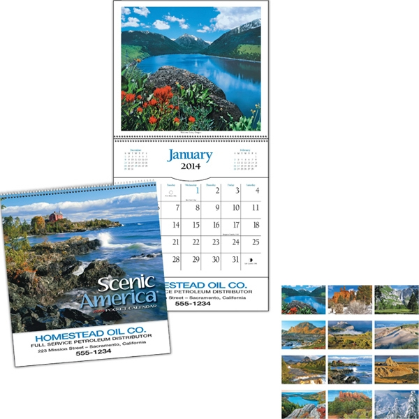 Spiral Bound Twelve-picture Scenic Pocket Calendar Photo