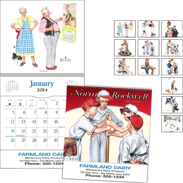 "Spiral Bound 8"" X 16 1/8"" Pocket Calendar With Norman Rockwell Illustrations Photo"