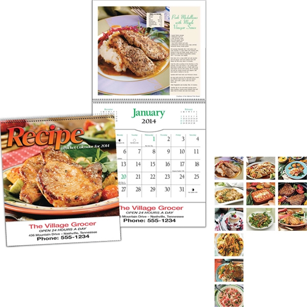 "Spiral Bound 8"" X 16 1/8"" Twelve-picture Recipe Pocket Calendar Photo"