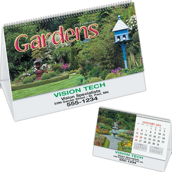 Gardens - Desk Calendar With Black Ad Photo