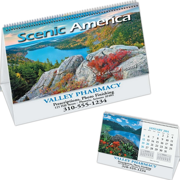 Scenic - Scenic Desk Calendar With Black Ad Photo