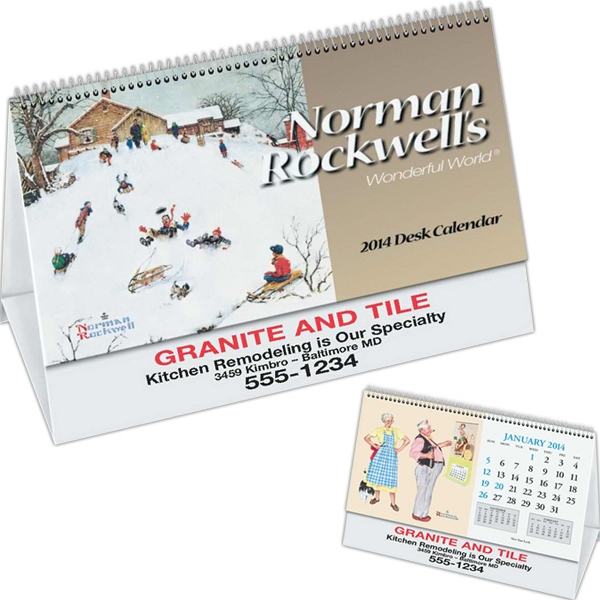 Rockwell Desk Calendar With Black Ad Photo