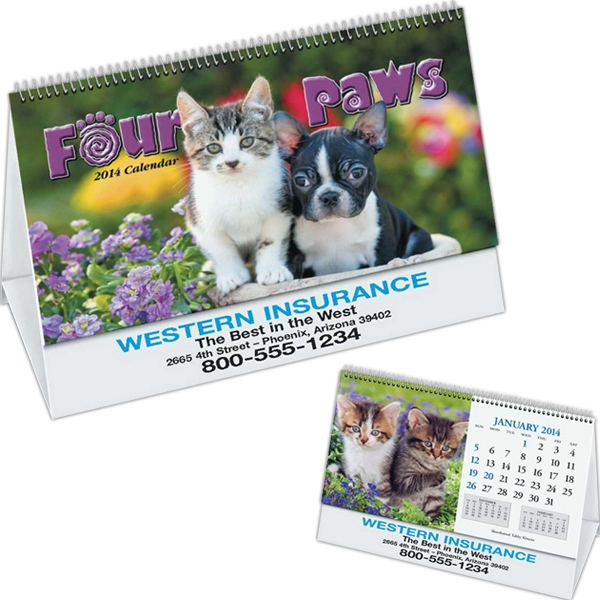 Four Paws - Desk Calendar With Black Ad Photo