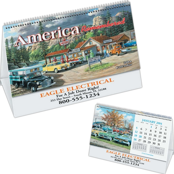 America Remembered - Desk Calendar With Black Ad Photo