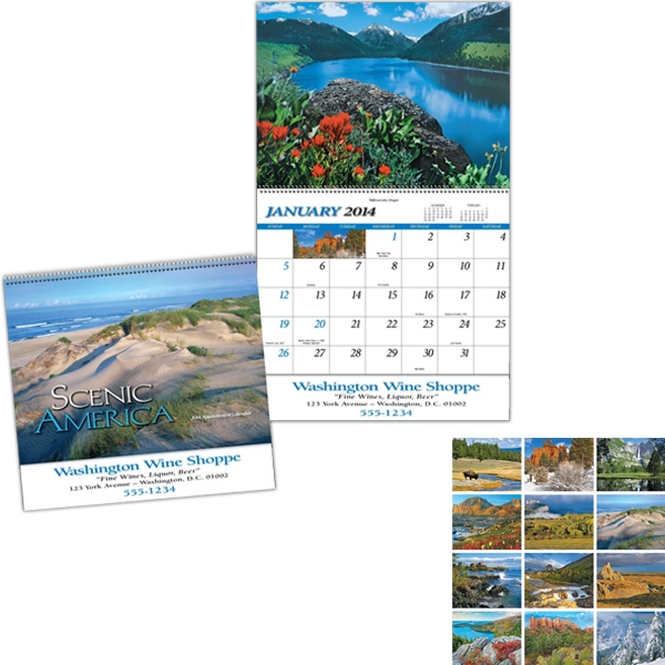 Scenic America (r) - Full-color Pad Spiral Bound 13-month Calendar With Black Ad Photo