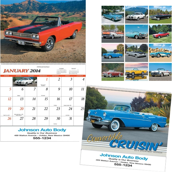 Convertible Cruisin' - Special Markets Calendar, Spiral Bound With Black Ad Photo