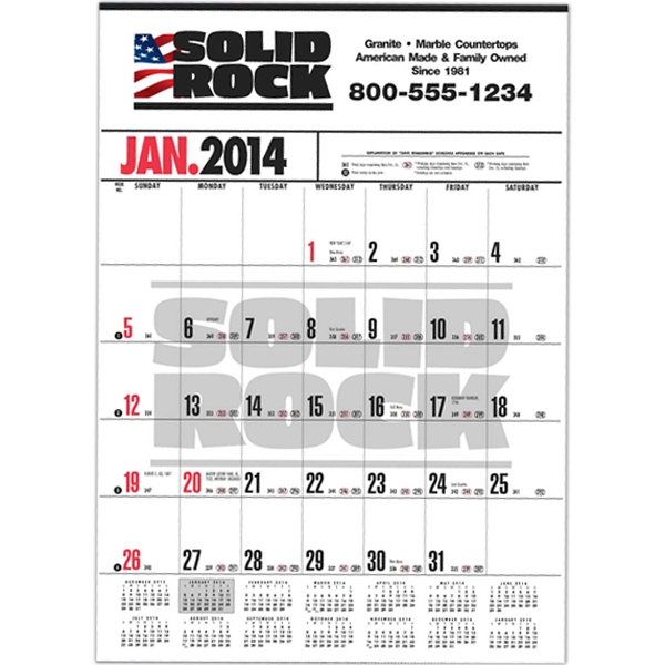 Handi-record (tm) - Business Calendar With Black Ad Photo