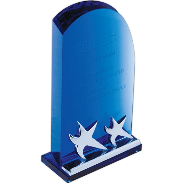 "9 15/16"" X 4 5/16"" X 2"" - Blue Crystal Arch Plaque With Star On Base Achiever Award Photo"
