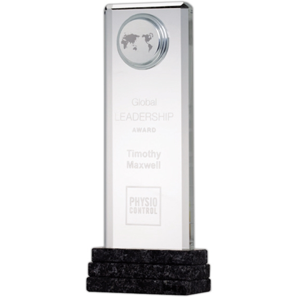 "9 11/16"" X 3 3/4"" X 2 1/8"" - Global Achiever Award On Grey Marble Base Photo"