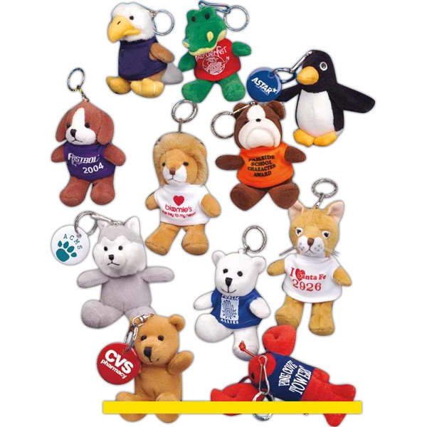 "Key Chain Pals (tm) - White - 4"" Stuffed Bear With Embroidered Eyes On A Key Chain Photo"