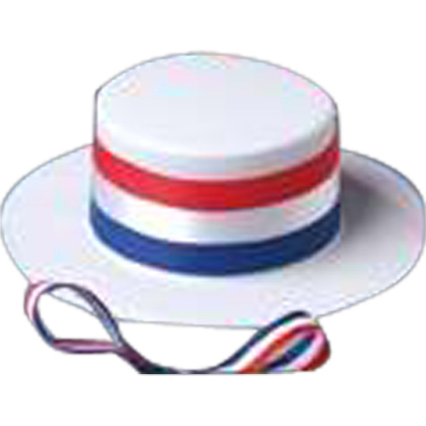 Patriotic Skimmer Hat For Stuffed Animal With Red, White And Blue Band. Blank Photo