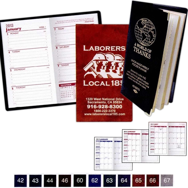 Executive Vinyl Monthly Pocket Planner With 2 Color Insert Photo