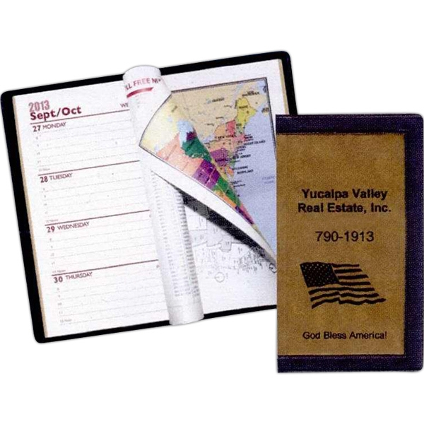 Weekly Two-tone Standard Vinyl Cover 1-color Designer Pocket Planner With Map Photo