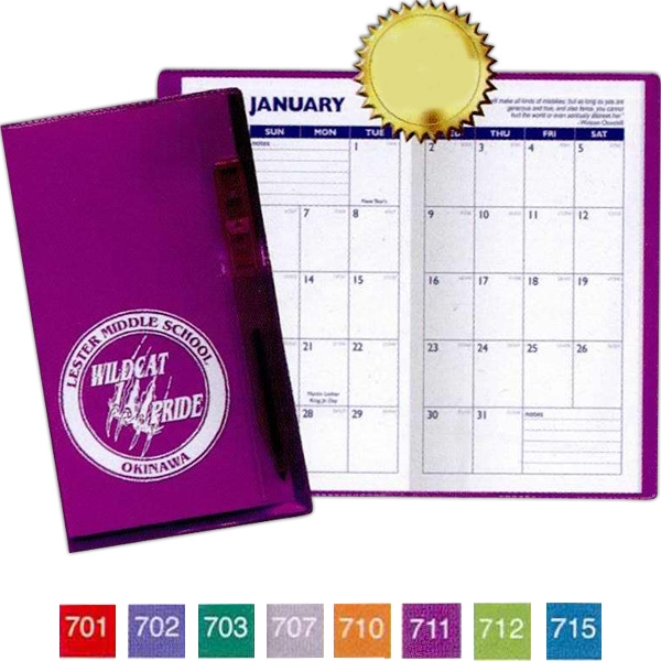 Translucent Vinyl Cover Monthly 1-color Planner With Flat Matching Pen Photo