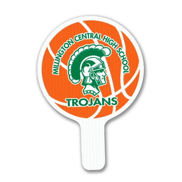 "Round - Weather Resistant Hand Fan, Made Of Corrugated Plastic, Approximately 8"" X 12"" Photo"