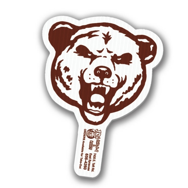 "Bear - Weather Resistant Hand Fan, Made Of Corrugated Plastic, Approximately 8"" X 12"" Photo"