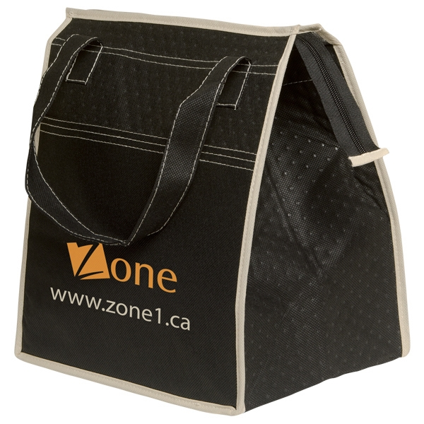 Non-woven Fashion Thermo Tote Bag - Non-woven polypropylene tote bag cooler with two tone striped pattern. Straps for carrying on the shoulder. Insulation inside.