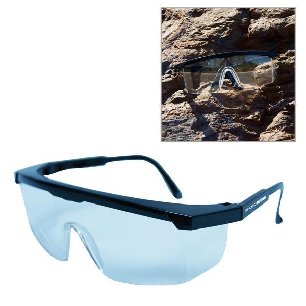 Safety Glasses With Clear Lens And Black Frame Photo