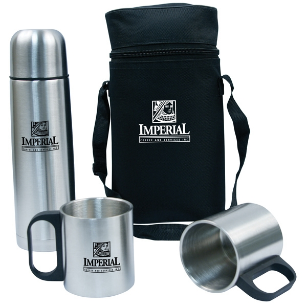 On-the-go - On-the-go Flask And Mug Set. Includes 17 Oz. Flask, 2 Stainless Mugs And Carry Bag Photo