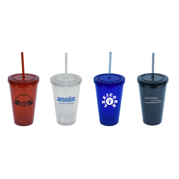 16 Oz. Insulated Acrylic Desk Water Cup With Screw Top Lid And (1) Straw. Bpa Free Photo