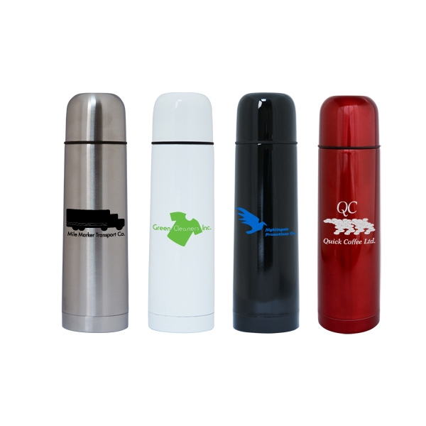 17 Oz. Stainless Steel Vacuum Flask/thermos. One Touch, No Drip Easy Pour Valve Photo