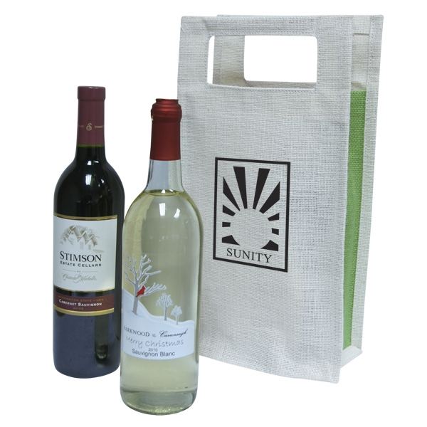 Bag Designs (tm) - Double Wine Tote Bag With Carry Handles. Bag Is Made Of Biodegradable Jute Fabric Photo