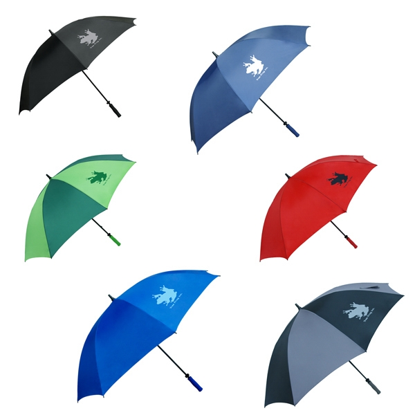 "Golf Umbrella With 64"" Arc. Durable 210t Polyester With Fiberglass Frame And Shaft Photo"