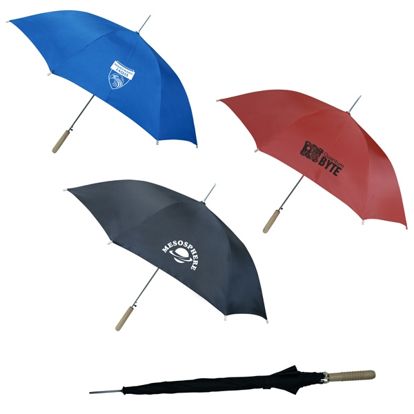 "Everyday Umbrella With Stainless Steel Frame And Wooden Handle. Arc Size Is 46"" Photo"