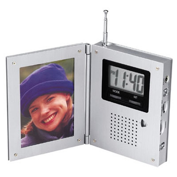 Metal Finished Am/fm Radio Alarm Clock With Picture Frame Photo