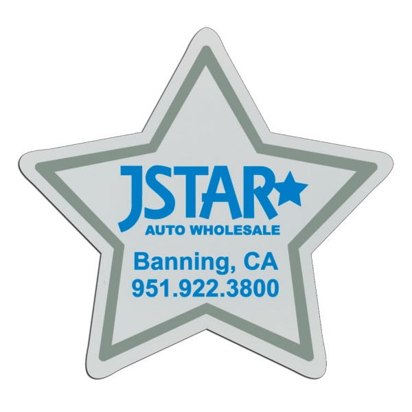 Star - White Lightweight Plastic Badge With Safety Pin Or Magnet Backing Photo