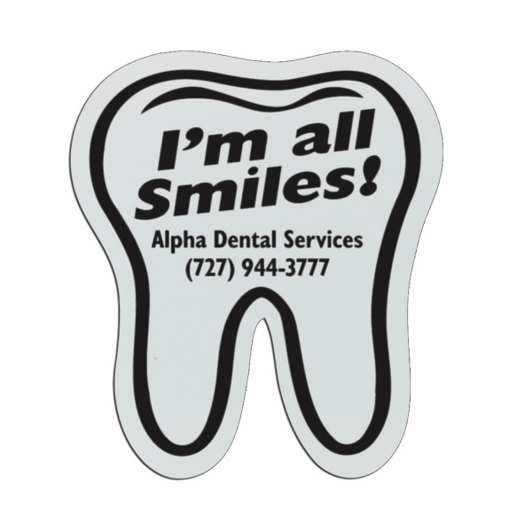 Tooth - White Lightweight Plastic Badge With Safety Pin Or Magnet Backing Photo