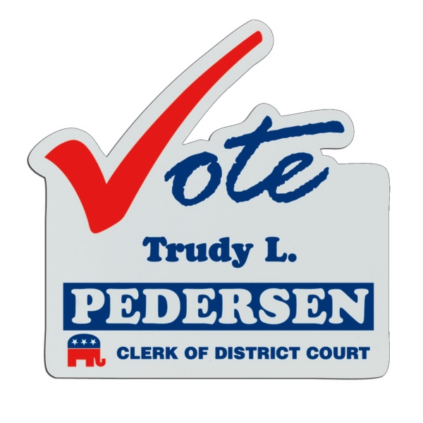 Vote - White Lightweight Plastic Badge With Safety Pin Or Magnet Backing Photo