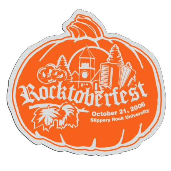 Pumpkin - White Lightweight Plastic Badge With Safety Pin Or Magnet Backing Photo