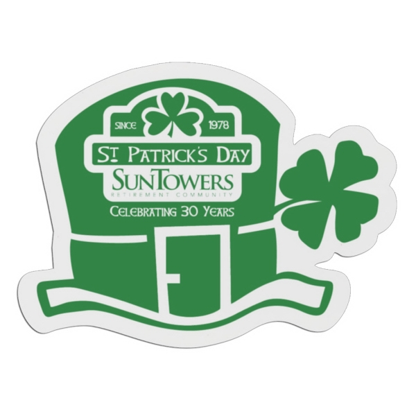 St. Patty Hat - White Lightweight Plastic Badge With Safety Pin Or Magnet Backing Photo