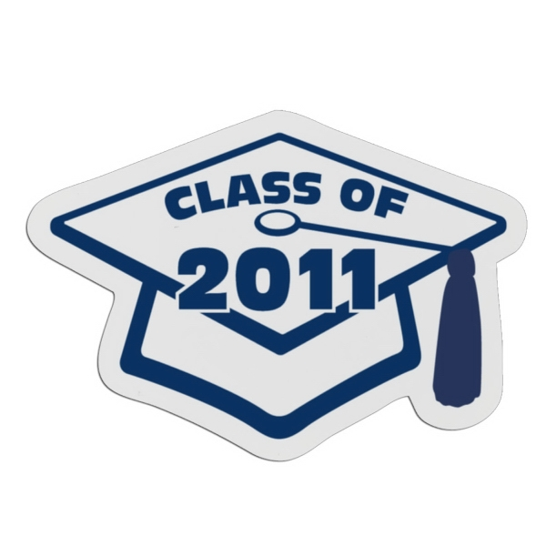 Graduation Cap - White Lightweight Plastic Badge With Safety Pin Or Magnet Backing Photo