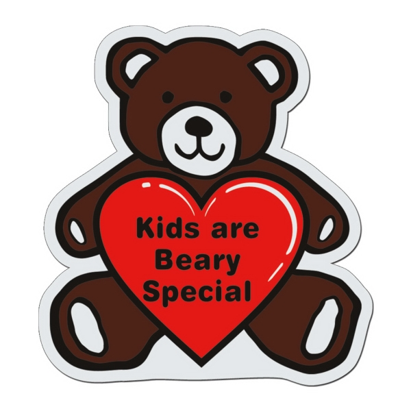 Teddy Bear - White Lightweight Plastic Badge With Safety Pin Or Magnet Backing Photo