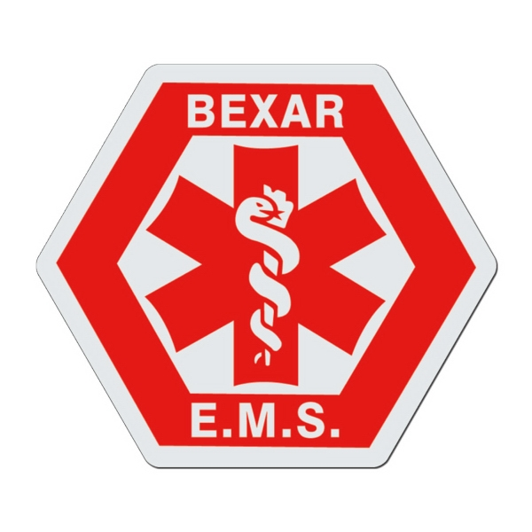 Hexagon With Medical Caduceus - White Lightweight Plastic Badge With Safety Pin Or Magnet Backing Photo