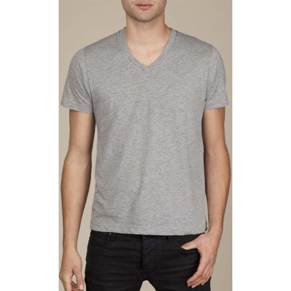Heather Gray 2 X L - Men's Cotton Jersey Basic V-neck T-shirt Photo